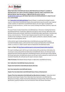 Report on Hydrochloric Acid (Refined) Market 2016 Global Industry