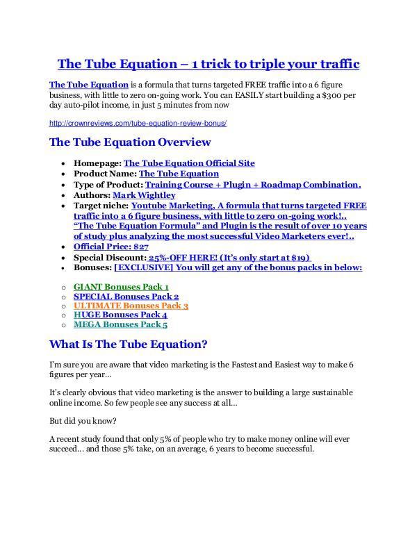 The Tube Equation Review & GIANT bonus packs