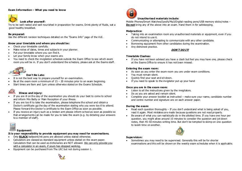 Exam Certificates Information South Craven School