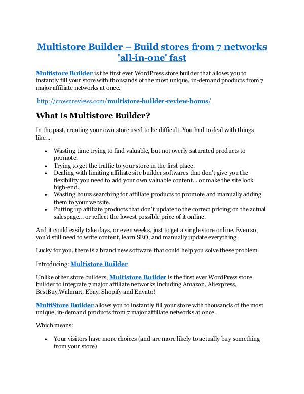 Multistore Builder Review & GIANT Bonus