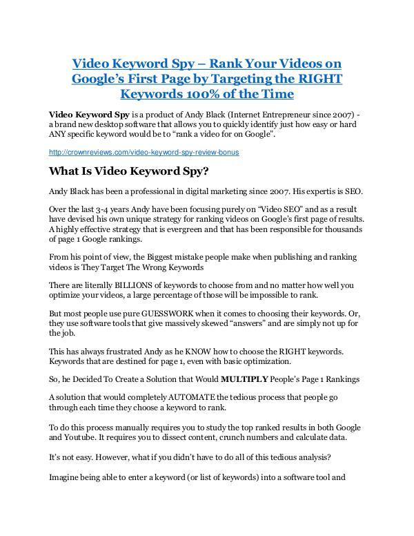Video Keyword Spy review and sneak peek demo