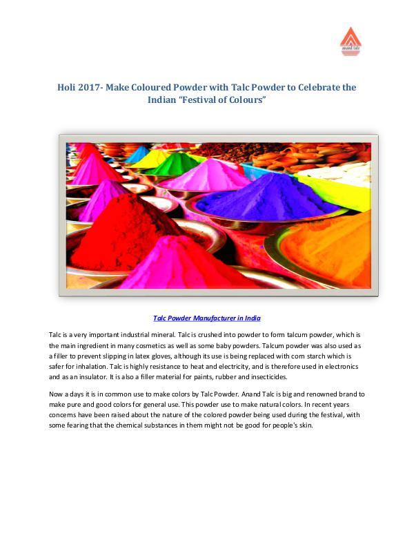 Holi 2017- Make Coloured Powder with Talc Powder to Celebrate Holi Holi 2017- Make Coloured Powder with Talc Powder t