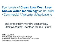 Four Levels of Clean, Low cost, Forgotten Water Technologies for...