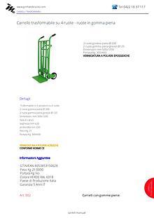Carrelli trasformabili 3 posizioni ruote gomma piena