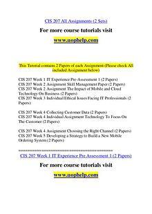 CIS 207 Experience Tradition/uophelp.com