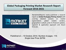 Global Packaging Printing Market Research Report 2016-2021