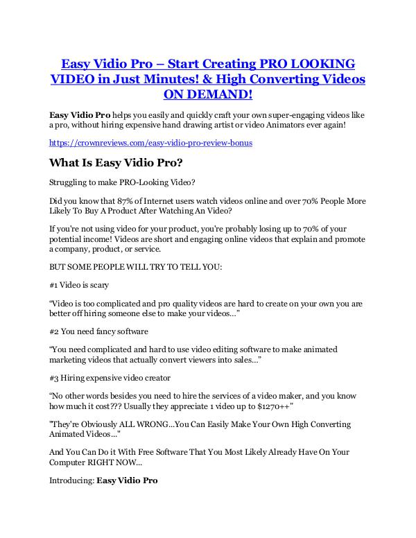 Easy Vidio Pro Review & (Secret) $22,300 bonus