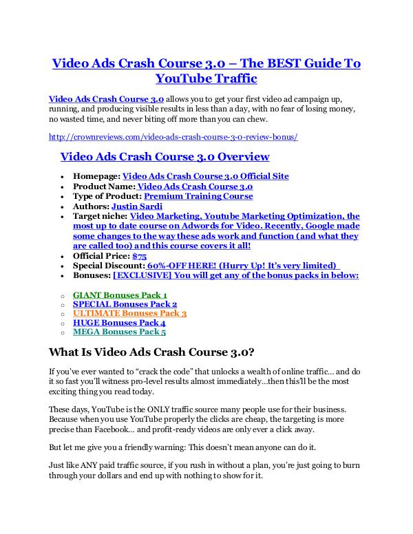 marketingVideo Ads Crash Course 3 review in particular - Video Ads Crash Course 3 bonus