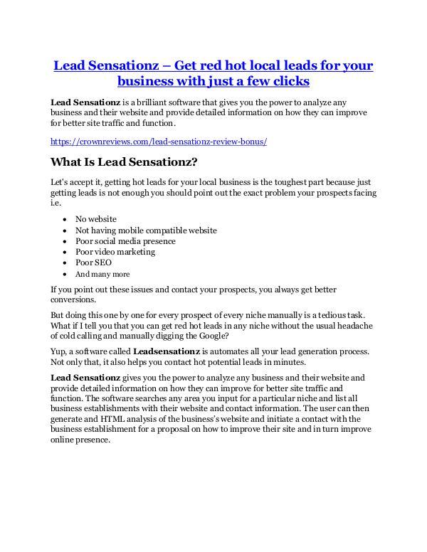 Marketing Lead Sensationz review and sneak peek demo