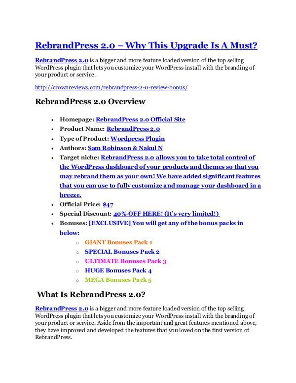 RebrandPress 2.0 Review demo - $22,700 bonus