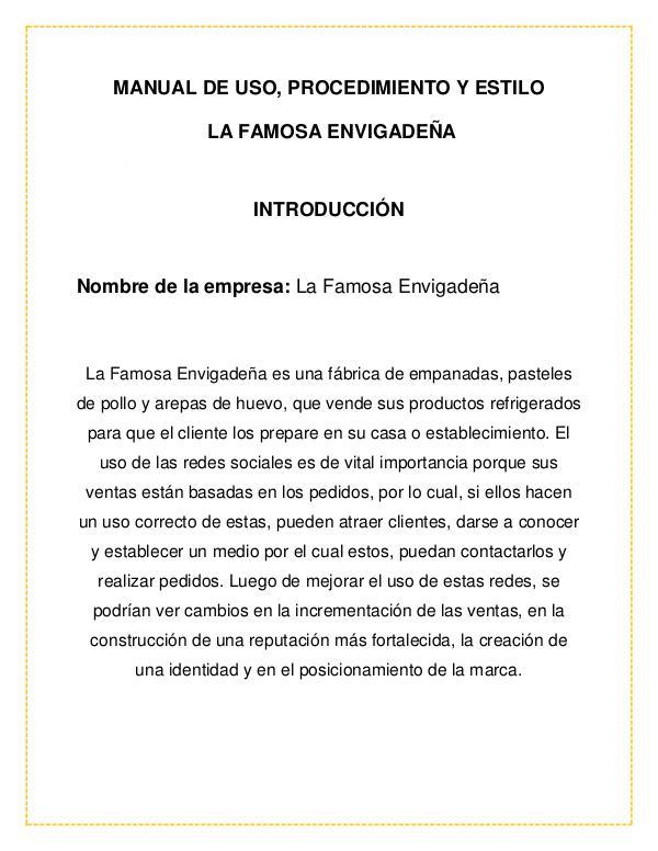 Manual de estilo de La Famosa Envigadeña I