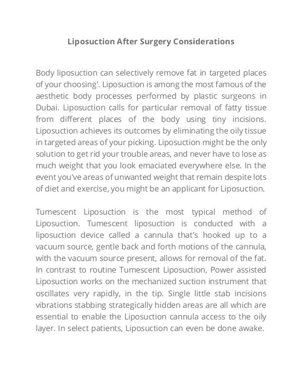 Liposuction post surgery Instructions Lipo