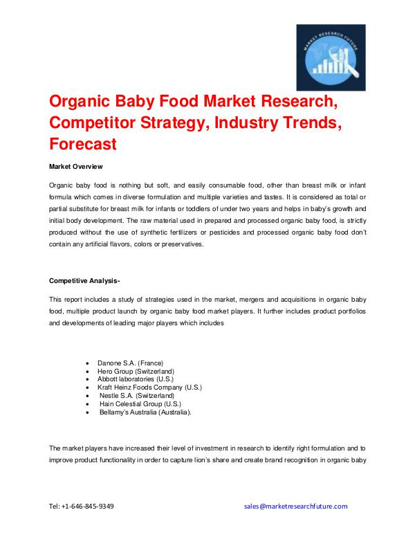 Organic Baby Food Market is Expected to Grow at a
