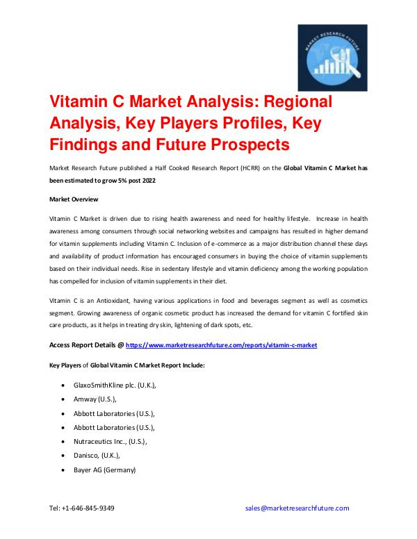 Vitamin C Market is Driven by Increased Demand for