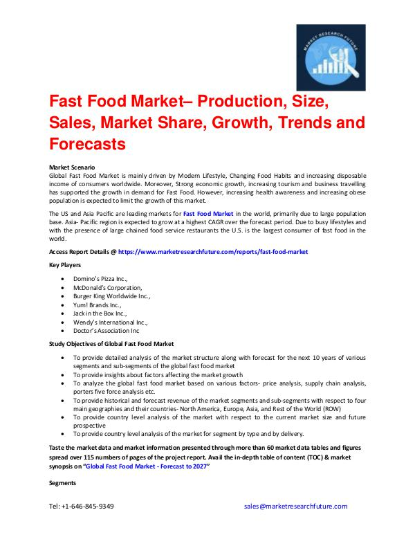 Fast Food Market Size, Competitors Strategy