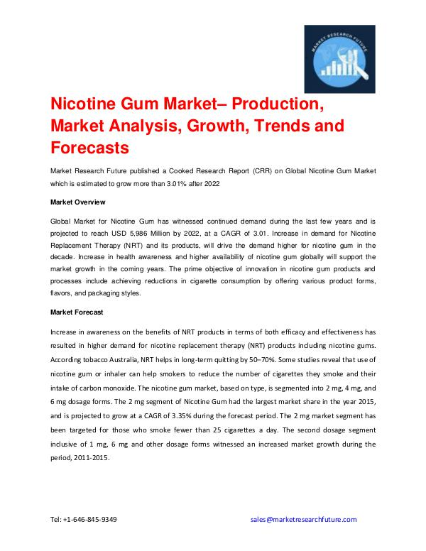 Shrink Sleeve Labels Market 2016 market Share, Regional Analysis and Nicotine Gum Market 2016 to 2022 – Production, Mar