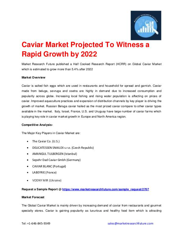 Market Research Future (Food and Beverages) Caviar Market outlook 2016-2022 explored in latest