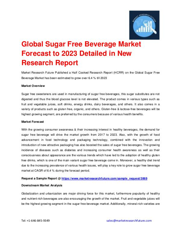 Market Research Future (Food and Beverages) Sugar Free Beverage Market Forecast to 2023