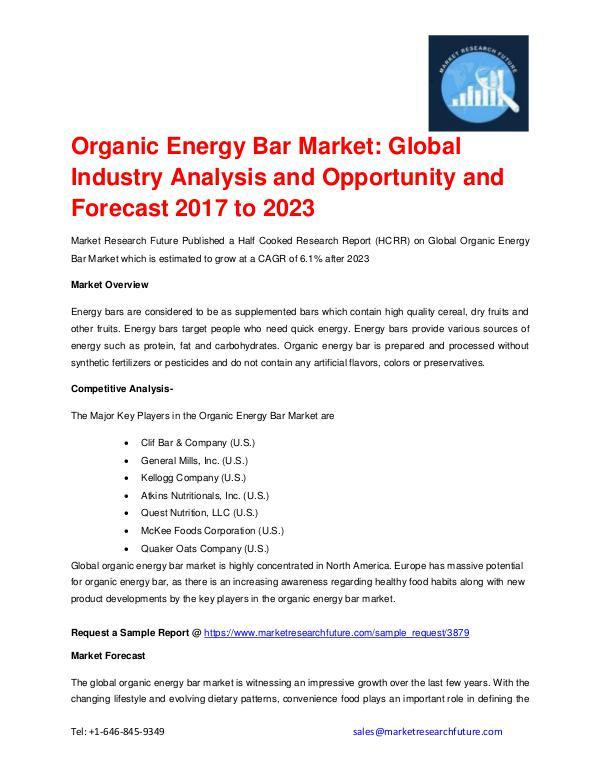 Market Research Future (Food and Beverages) Organic Energy Bar Market Regional Analysis