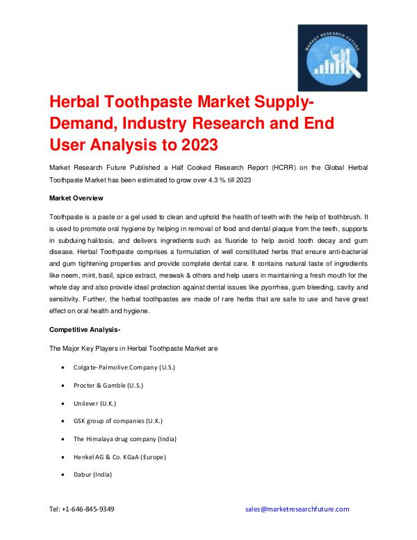Market Research Future (Food and Beverages) Herbal Toothpaste Market Forecast to 2023 Detailed
