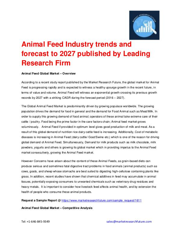 Animal Feed Market Forecast to 2027 Available