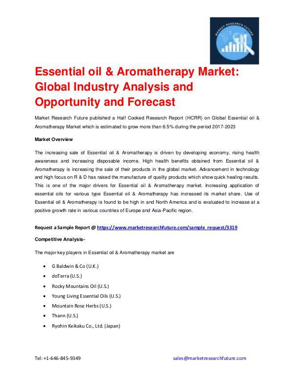 Essential oil & Aromatherapy Market Forecast