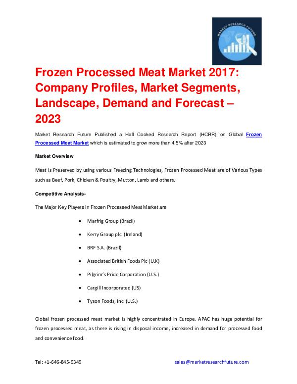 Frozen Processed Meat Market outlook 2017-2023