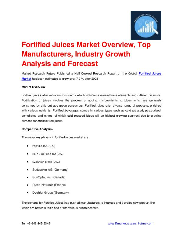 Fortified Juices Market outlook 2017-2023 explored
