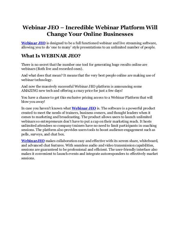 Webinar JEO review & bonus - I was Shocked! Webinar JEO Review & GIANT Bonus