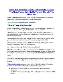 Video Ads Formula review and (COOL) $32400 bonuses