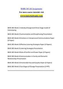 BSHS 385 Course Great Wisdom / tutorialrank.com