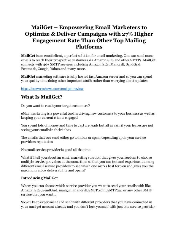 MailGet review and (COOL) $32400 bonuses MailGet Review - MASSIVE $23,800 BONUSES NOW!