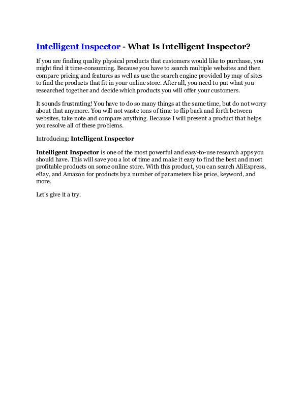 Marketing Intelligent Inspector review - Intelligent Inspect
