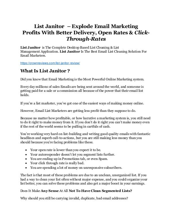 List Janitor review and (COOL) $32400 bonuses List Janitor review & (GIANT) $24,700 bonus NOW