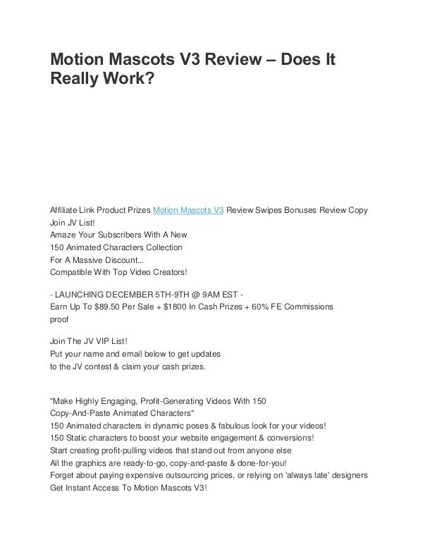 WP Video Profits Motion Mascots V3 Review