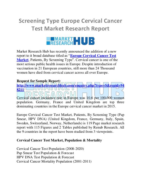 Market Research Report Screening Type Europe Cervical Cancer Test Market