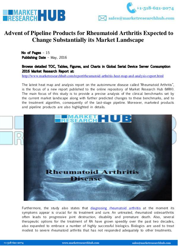 Market Research Report Advent of Pipeline Products  Rheumatoid Arthritis