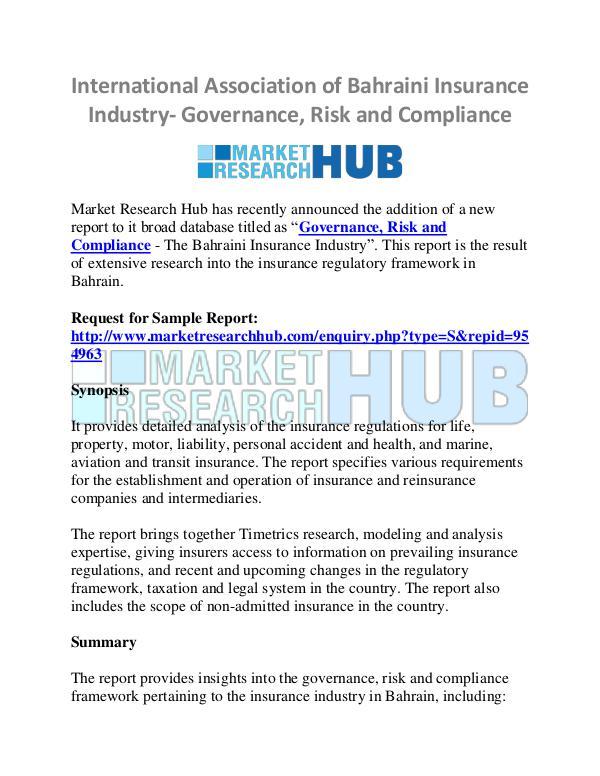 Market Research Report International Association of Bahraini Insurance
