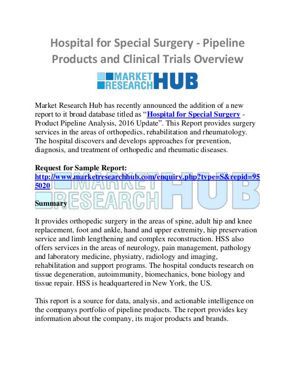 Market Research Report Hospital for Special Surgery - Pipeline Products