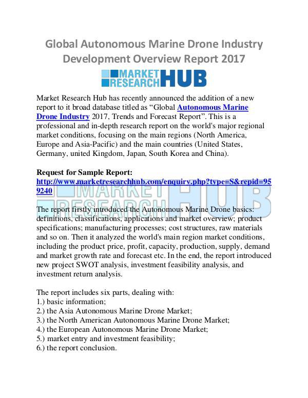 Market Research Report Autonomous Marine Drone Industry Report