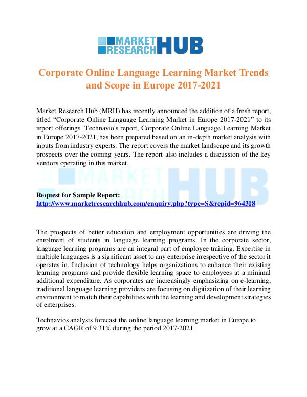 Market Research Report Corporate Online Language Learning Market  Report