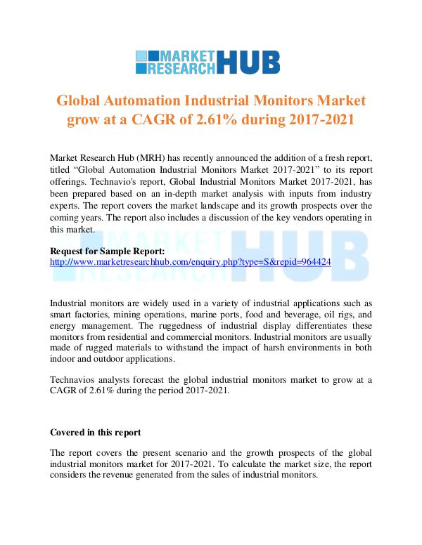 Market Research Report Global Automation Industrial Monitors MarketReport
