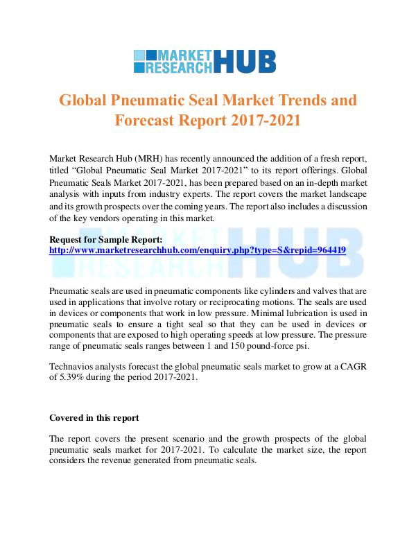 Market Research Report Global Pneumatic Seal Market Trends  Report