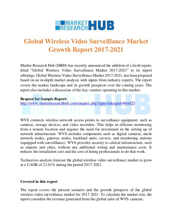 Market Research Report Wireless Video Surveillance Market ReseacrhReport
