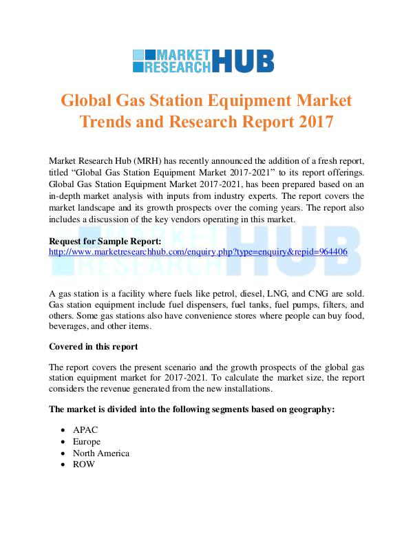 Market Research Report Gas Station Equipment Market Trends Report
