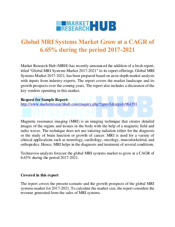 Market Research Report Global MRI Systems Market Research Report 2017