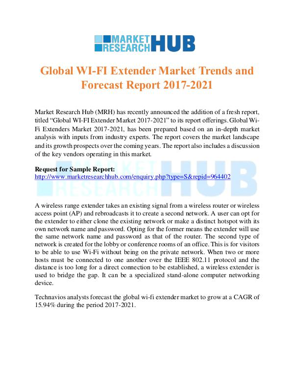 Market Research Report Global WI-FI Extender Market Trends Report 2017