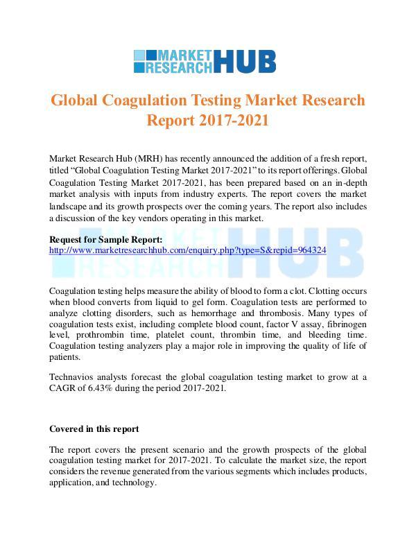 Market Research Report Global Coagulation Testing Market Research Report