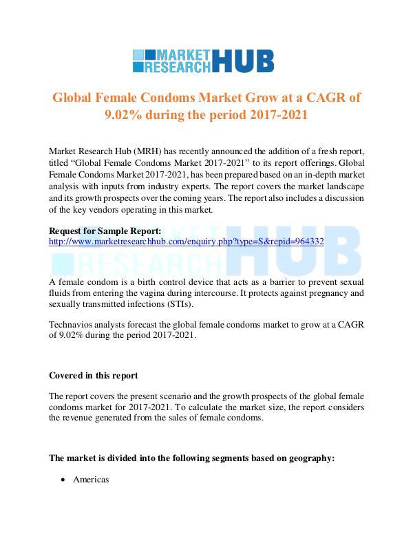 Market Research Report Global Female Condoms Market Report
