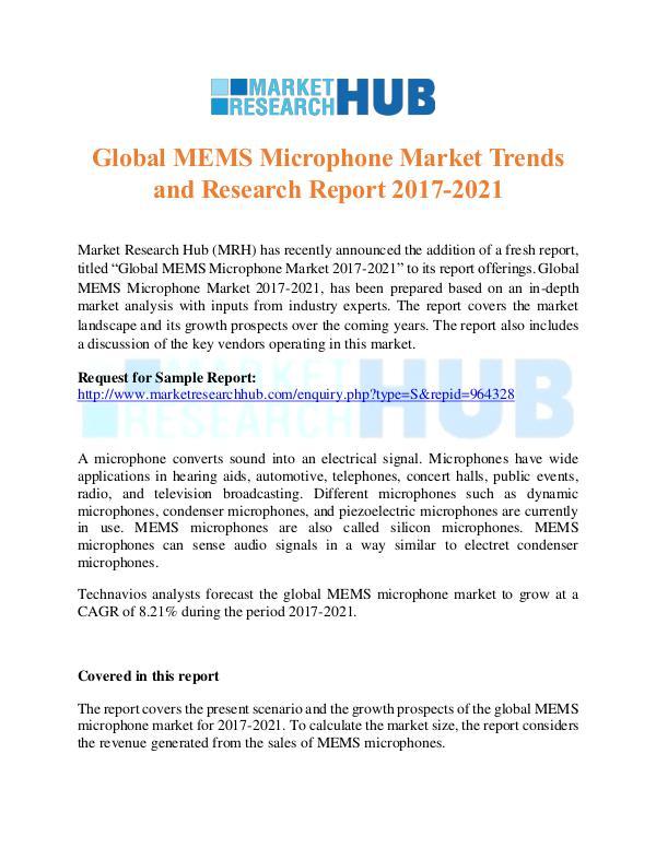 Market Research Report Global MEMS Microphone Market Trends Report